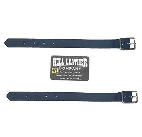 Hill Saddlery 2 Pack Black Leather Straight Stirrup Fender Hobble Straps