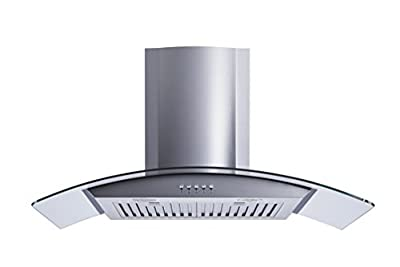 "Winflo New 36"" Convertible Stainless Steel/Tempered Glass Wall Mount Range Hood with Stainless Steel Baffle filters, Ultra bright LED lights and Push Button 3 Speed Control"
