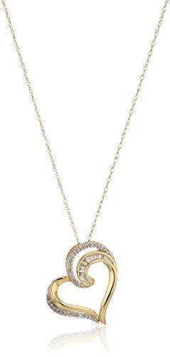 (10k yellow gold baguette diamond heart pendant necklace (1/10 cttw, j-k color, i3 clarity), 18