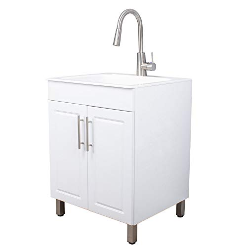 White Vanity Cabinet Sink by JS Jackson Supplies with Stainless Steel Faucet and Pulls, 33 Inches Tall, Slow Close Doors, Perfect for Laundry Rooms, Garages, and Basements, Quality Construction