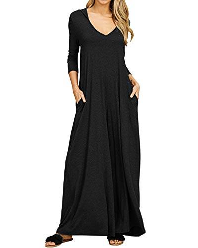 Jacansi Women V Neck Solid Casual 3/4 Sleeve Long Hoodie Sweatshirt Dress Black L