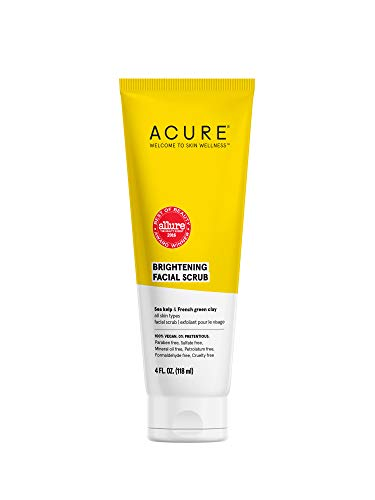 ACURE Brightening Facial Scrub |100% Vegan |For A Brighter Appearance | Sea Kelp & French Green Clay - Softens, Detoxifies and Cleanses | All Skin Types | 4 Fl Oz  (Packaging May Vary)