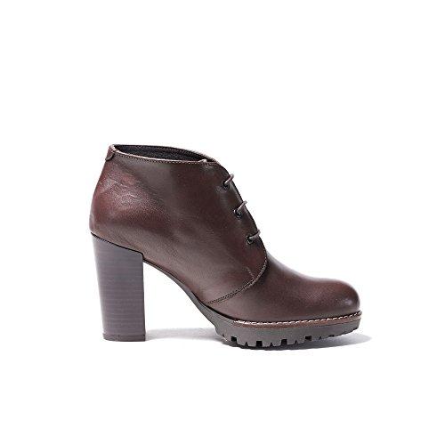 UMA Echtes Leder Plateau Stiefel für Damen Dunkelbraun