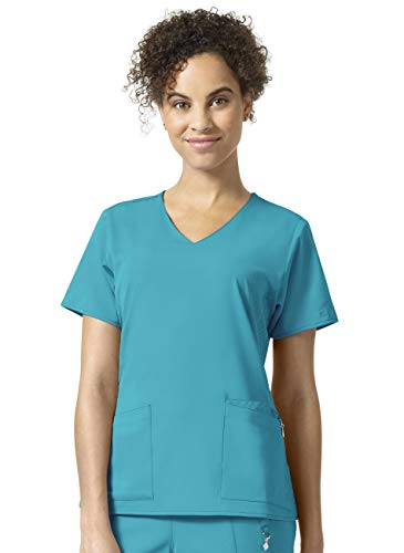 (Vera Bradley Halo Collection Women's Nettie V-Neck Quilted Scrub Top- Teal Blue- Medium)