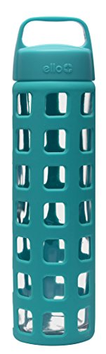 Ello Pure Glass Water Bottle with Silicone Sleeve, 20 oz, Teal Squares