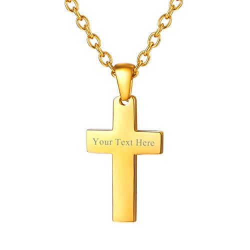 PROSTEEL Gold Cross Necklace 18K Plated Christian Jewelry Gift Men Women Girl Boy Inspirational Catholic Personalized Custom Engrave Cross Pendant