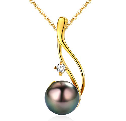 (CHAULRI Authentic South Sea Tahitian Black Pearl Pendant Necklace 9-10mm Round 18K Gold Plated 925 Sterling Silver - Jewelry Gifts for Women Wife Mom Daughter)