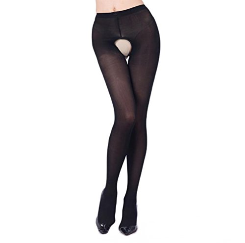 Curbigals Women Sexy Open Crotch Tights Plus Sized Crotchless Opaque Pantyhose Stocking (Black, Plus Size)