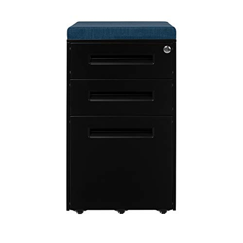 STOCKPILE Seated 3-Drawer Mobile File Cabinet with Removable Magnetic Cushion Seat, Commercial-Grade, Pre-Assembled (Black with Blue Cushion)