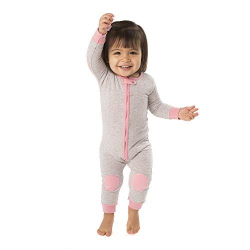 baby deedee 1 Piece Cotton Long Sleeve Footless Romper Pajama, Heather Gray/Bubble Gum, 12-18 Months
