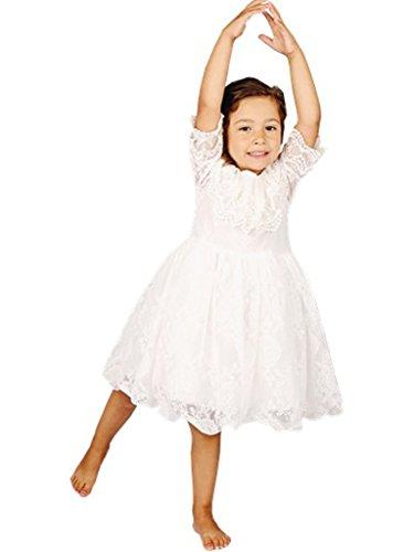 Bow Dream Lace Flower Girl's Dress White 2