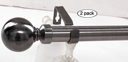 (Curtainsville: Two Adjustable Pewter (Black/Brown) Window Curtain Rod, Two Ball Finials per Rod, Expandable 35.43 to 62.9 inch (0.9-1.6M) Long, 1 inch Diameter Pole (Pewter, 35-62