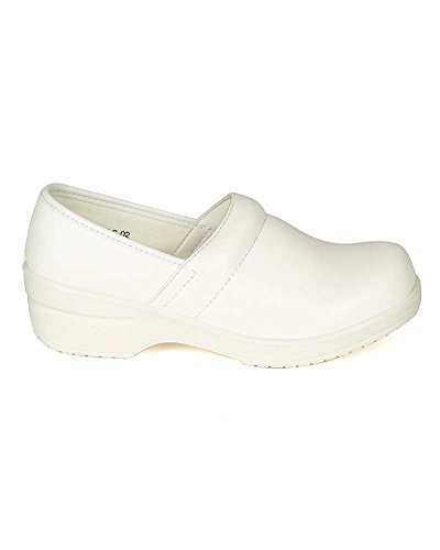 Refresh Women Leatherette Round Toe Slip On Clog BH36 - White (Size: 8.0) by Refresh (Image #1)'