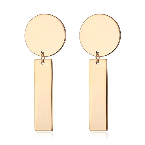 Plated Rectangle Pendant (HONGYE Gold-plated and Silver Plated Round Cohesive Rectangle Regular Pendant Drop Earrings)