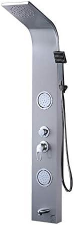 SISHUINIANHUA Duschsystem Badezimmer Duschpaneel Wasserturm mit Handbrause Massagedüsen, Nickel gebürstet [Energieklasse A]