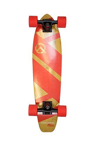 The Super Cruiser Mini 27″ Red Bamboo and Maple Longboard Skateboard