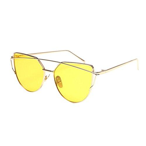 Transer Twin-Beams Classic Women Metal Frame Mirror Sunglasses Cat Eye Glasses - Clothing Eye Cats