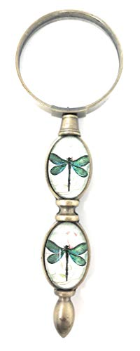 Value Arts Green Dragonfly Magnifying Glass, Brass and Glass, 6 Inches Long ()