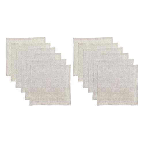 Ecru Linen Fabric - Solino Home Linen Cocktail Napkins - 9 x 9 Inch Set of 12, White Ash - 100% Pure Linen Napkins Bella, European Flax - Soft and Handcrafted with Mitered Corners