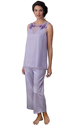 PajamaGram Womens Downton Abbey Lady Mary Pajamas, Lavender