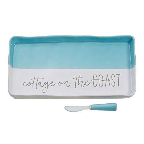 (Mud Pie Cottage on the Coast Hostess Ceramic Rectangle Tray Kitchenware Set of)