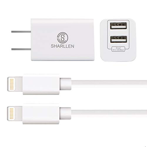 (Wall Chargers with 2x6 FT iPhone Charging Cables,Sharllen Dual Port USB Plug Power Adapter Travel iPhone Charger Cord Compatible iPhone Xs/Max/XR/X/8 Plus/8/7/7Plus/6s P/6/6P/iPad/iPod White 3)