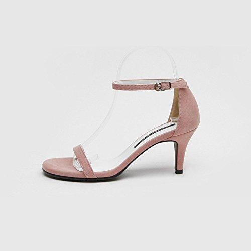 AJ-combacia tutto sexy estate sandali con una cintura di pelle nera allacciati le scarpe,Eu38,Rosa