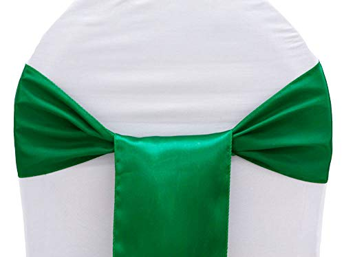 mds Pack of 25 Satin Chair Sashes Bow sash for Wedding and Events Supplies Party Decoration Chair Cover sash -Green
