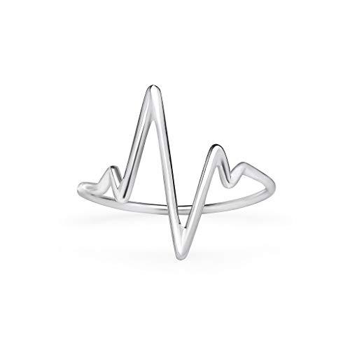 925 Sterling Silver Heartbeat EKG Pulse Ring   Size 9.5