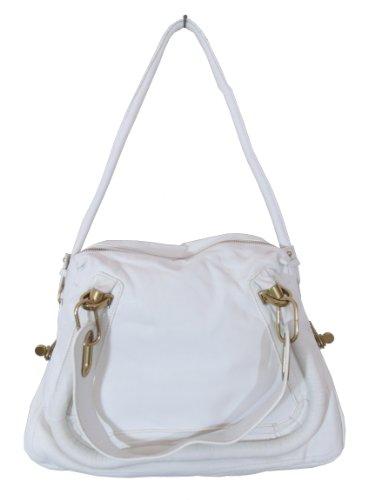 BESSO White Leather Luxury Italian Shoulder Bag Handbag Purse