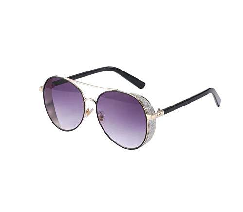 Nwn Polarisierte Sonnenbrille Weiblicher Strass Großer Rahmen Rundes Gesicht Anti-UV Multicolor Optional (Color : Gold Frame Purple Film) (Sonnenbrille Für Große Gesichter)