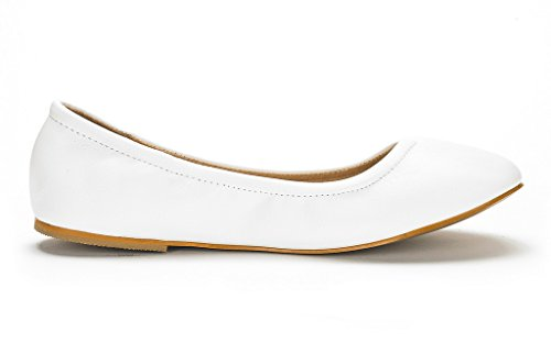 DREAM PAIRS Womens Sole-Fina Solid Plain Ballet Flats Shoes White AWNBeg