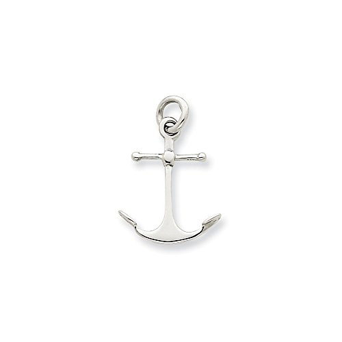 White Gold Anchor Pendant - 14k White Gold Solid Polished 3-Dimensional Anchor Pendant