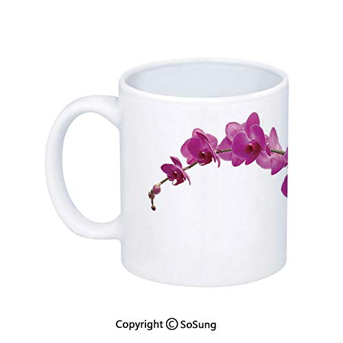 Magenta Decor Coffee Mug,Wild Orchids Petal Florets Branch Romantic Flower Exotic Plant Nature Art Print,Printed Ceramic Coffee Cup Water Tea Drinks Cup,Violet