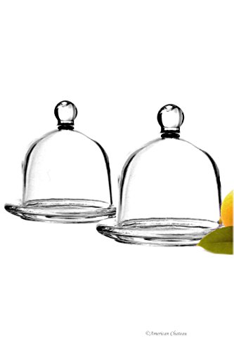 Set 2 Glass Round Individual Serving Domed Covered Butter Dish with Finial (Dome Butter Dish)
