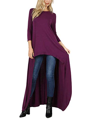 MixMatchy 3/4 Sleeve High Low Casual Long Maxi Tunic Tops Dark Plum S ()