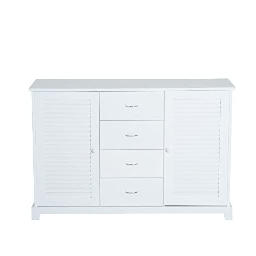 Farmhouse Buffet Sideboards HOMCOM 47″ Modern Storage Cabinet Buffet Sideboard with Drawers and Louvered Doors- White farmhouse buffet sideboards