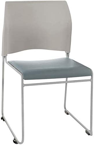 Blue/Gray and Gray Stackable Cafetorium Chair with Silver Frame. Chair for Kitchen, Dining, Bedroom, Living Room Side, Party, Ivents, Banquets.