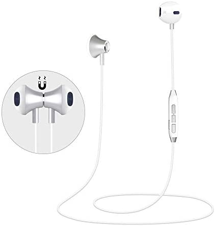Bluetooth Headset, Retractable Bluetooth Headphones, myfree 30 Hours Playtime Neckband Wireless Bluetooth Headphones Waterproof with mic Compatible for All Cellphones White