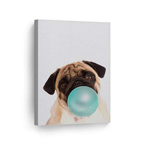 - Cute Puppy Pug Dog Animal Bubble Gum Art Teal Blue Canvas Print Photo Wall Art Home Decoration Pop Art Kids Room Decor Nursery Ready to Hang-%100 Handmade in The USA - 28x19
