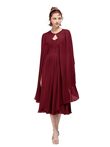 AW Women's Chiffon Wrap Shawl Shrug Wedding Cape Bolero Jacket Evening Coat Cover Up, Jester Red, S ()