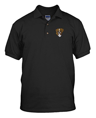 Boxer Head Dogs Pets Embroidery Cotton Short Sleeve Polo Jersey Shirt Black (Dog Head Embroidery)