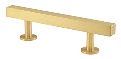"Lew's Hardware [31-102] Solid Brass Cabinet Pull Handle - Bar Series - Brushed Brass - 3"" C/C - 5"" L"