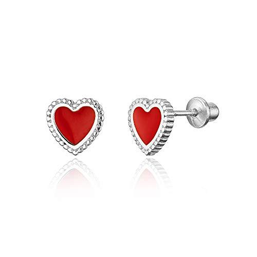 925 Sterling Silver Rhodium Plated Enamel Baby Red Heart Screwback Baby Girls Earrings