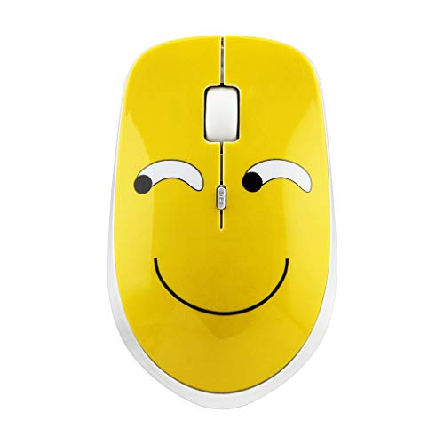 sakd Wireless Mouse Mute Gaming Mice 2.4GHz Optical Mouse 1600DPI Sprouting Expression Cartoon Ergonomic Design for Laptop PC Office (F)