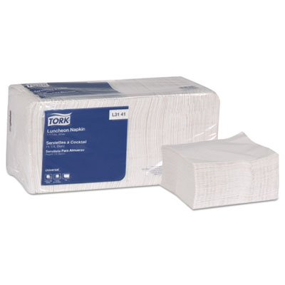 Universal Luncheon Napkins, 1-Ply, 13x11 1/2, 1/4 Fold, Poly-Pack,White,6000/Carton (4 Cartons)