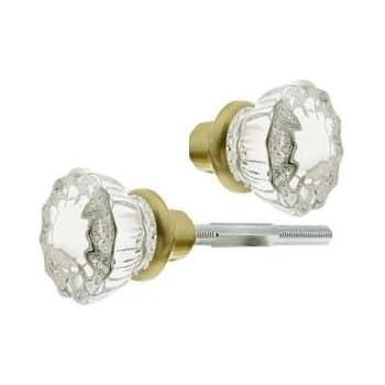 2 Knobs 1 Pair Depression Crystal Amp Antique Brass Stem