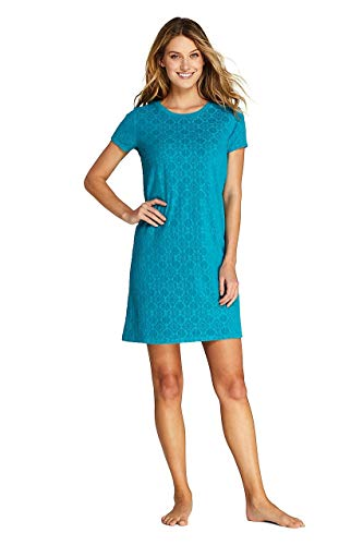 Lands' End Women's Jacquard Terry T-Shirt Dress Swim Cover-up, XS, Vivid -