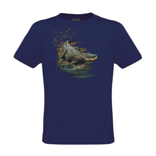 Ethno Designs Kids Excotic Wildlife - Little Boys Crocodile T-Shirt Gator Back regular fit, size 7-8 years, navy