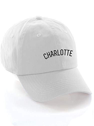- Daxton USA Cities Baseball Dad Hat Cap Cotton Unstructure Low Profile Strapback - Charlotte White Black